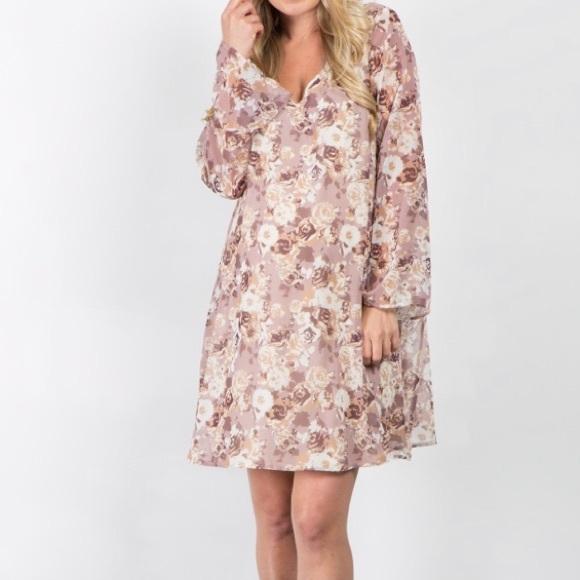 3f35e3f878efa Pinkblush Dresses | Taupe Abstract Chiffon Maternity Dress | Poshmark